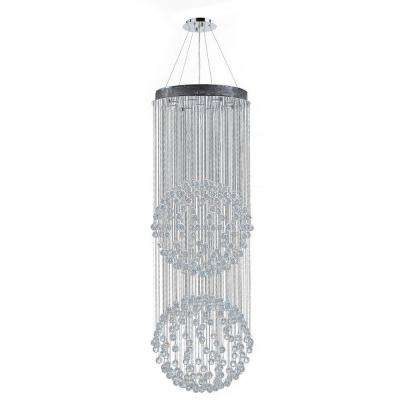 Saturn Collection 9-Light Crystal and Polished Chrome Chandelier