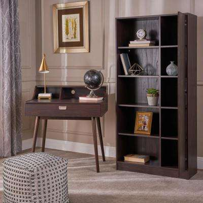 Ellison Mid-Century Modern Walnut Brown Faux Wood Home Office Desk and Shelf Set