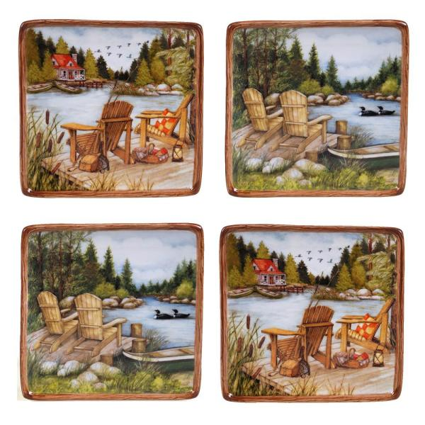 Certified International 6.25 in. Lake Life Canape Plate (Set of 4)
