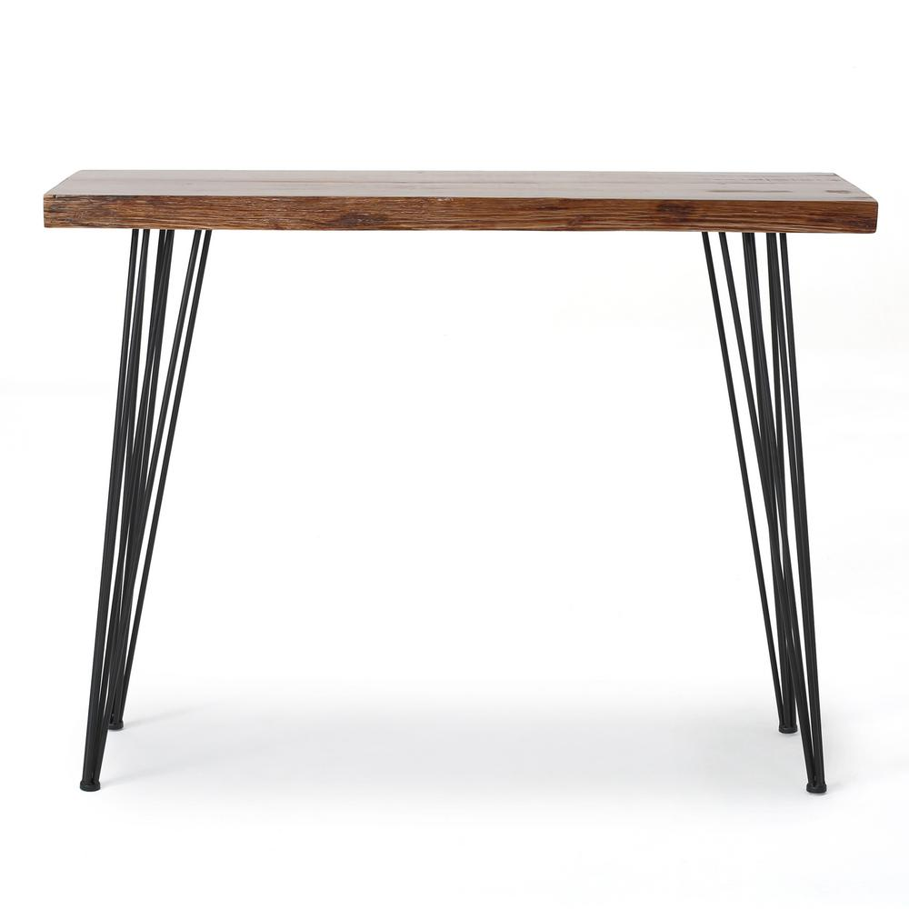 Noble house brown wood and metal console table 300521 the home depot