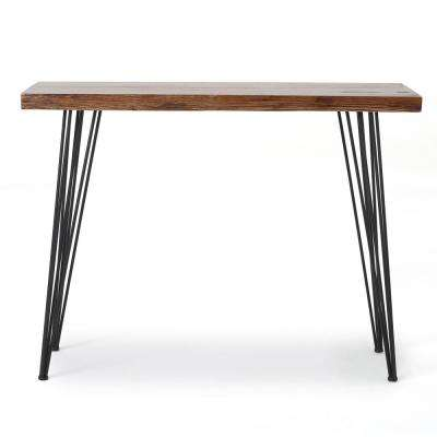 Brown Wood and Metal Console Table