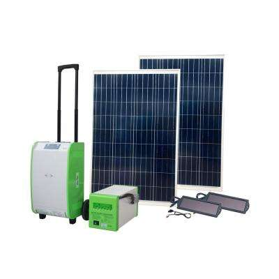 1,800-Watt Indoor/Outdoor Portable Off-Grid Solar Generator Kit with Auxiliary Battery Box