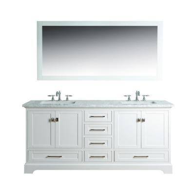 Newport 72 in. W x 22 in. D Vanity in White with Marble Vanity Top in Carrara White and Mirror