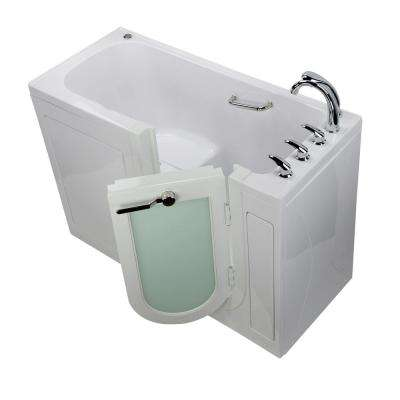 Lounger 60 in. Acrylic Walk-In Whirlpool Micro Bubble Air Bathtub in White, Fast Fill Faucet Set, RH 2 in. Dual Drain