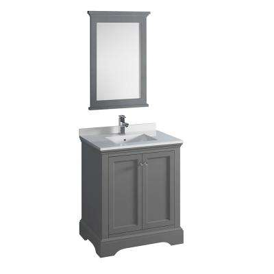 Windsor 30 in. W Traditional Bathroom Vanity in Gray Textured Quartz Stone Vanity Top in White with White Basin, Mirror