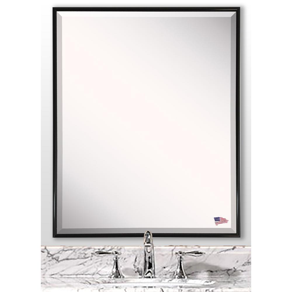 30.125 in. x 24.125 in. Alpha Black Beveled Vanity Wall Mirror