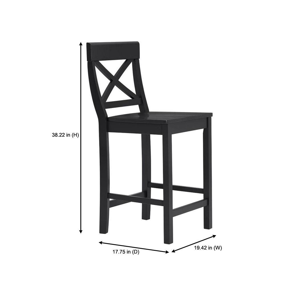 Peachy Stylewell Cedarville Black Wood Counter Stool With Cross Spiritservingveterans Wood Chair Design Ideas Spiritservingveteransorg