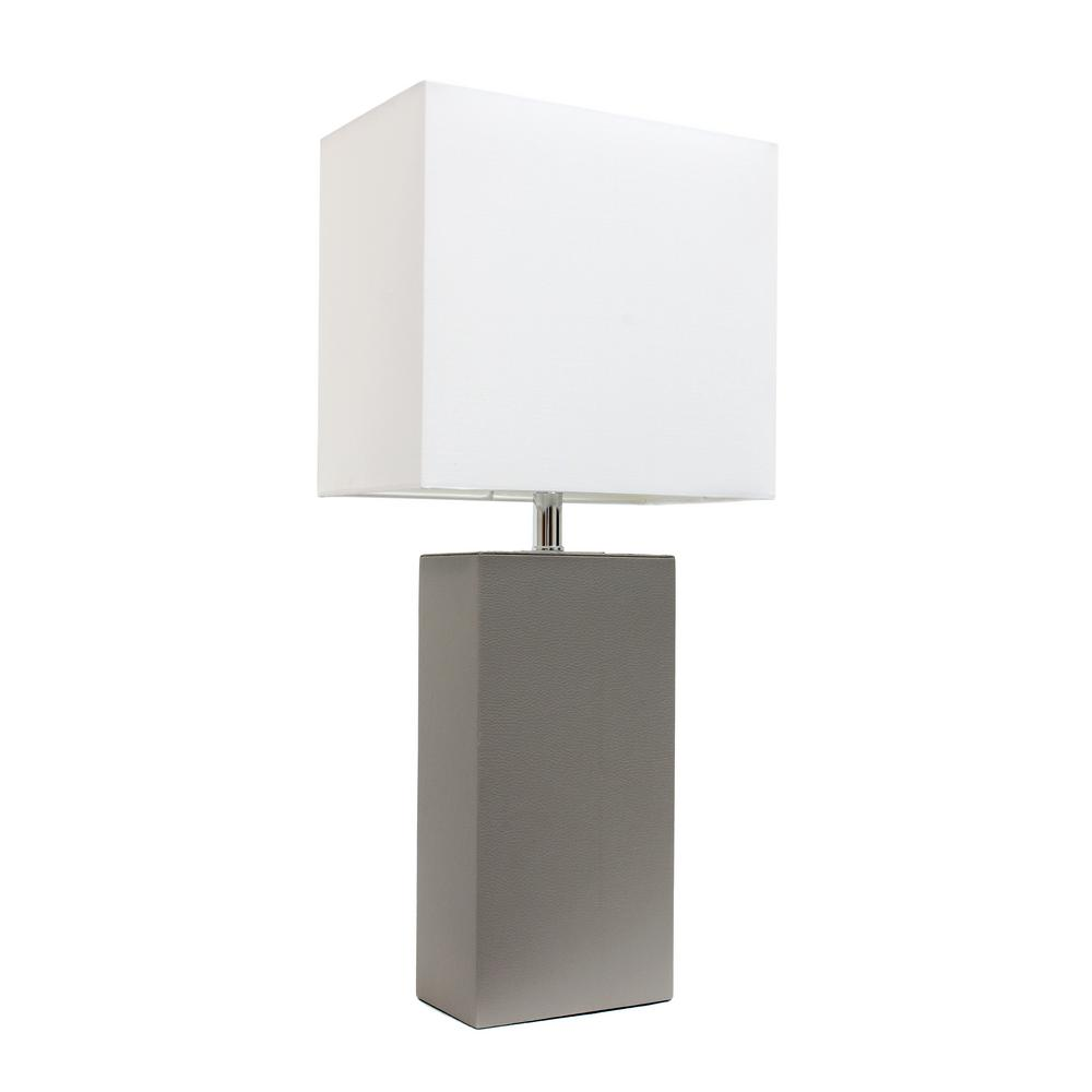 Elegant designs monaco avenue 21 in modern black leather table modern gray leather table lamp with white fabric shade aloadofball Gallery