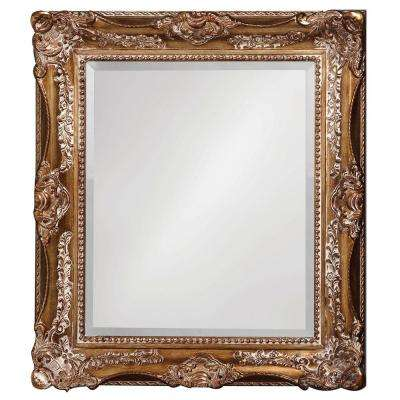 34 in. x 28 in. Antique Silver and Bronze Ornate Rectangle Framed Mirror