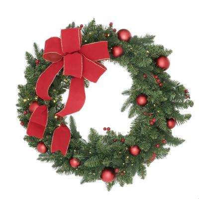 36 in. Battery Operated Mixed Fir Artificial Wreath with 100 Clear LED Lights