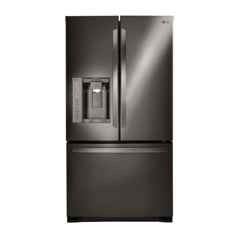 Built In French Door Refrigerator In Black Stainless