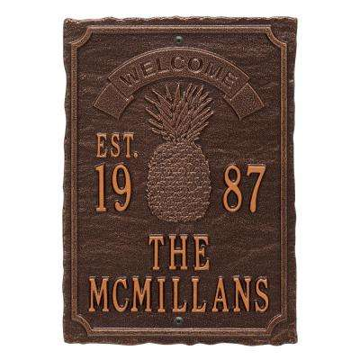 Antebellum Welcome Rectangular Standard Wall 3-Line Anniversary Personalized Plaque in Antique Copper