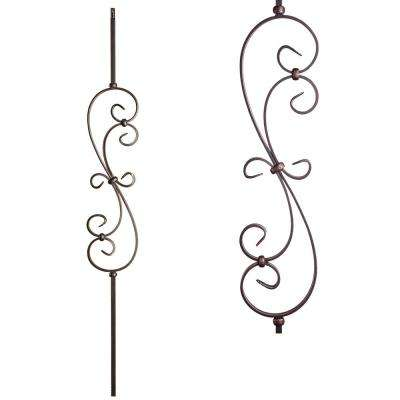 Scrolls 44 in. x 0.5 in. Oil Rubbed Copper Small Spiral Scroll Hollow Wrought Iron Baluster