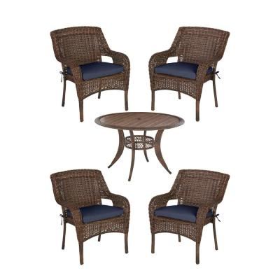 Cambridge 5-Piece Brown Wicker Outdoor Patio Dining Set with CushionGuard Midnight Navy Blue Cushions