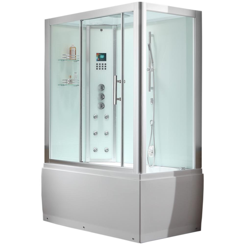 Ariel Platinum 59 in. x 87.4 in. x 32 in. Steam Shower Enclosure Kit with Whirlpool Tub in White