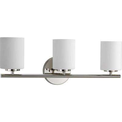 Replay 22 in. 3-Light Polished Nickel Bathroom Vanity Light with Glass Shades