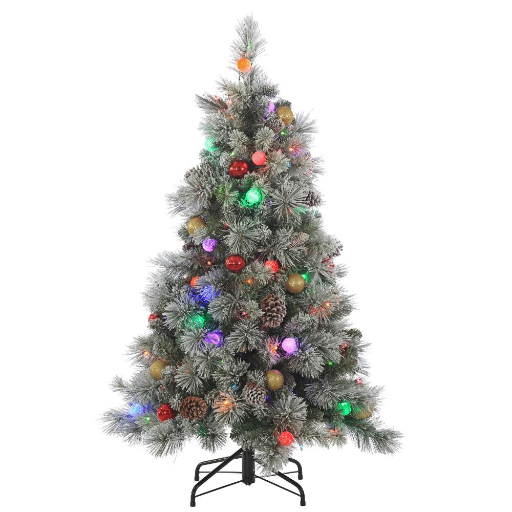 pre lit flocked hard needle pine artificial christmas tree with pine