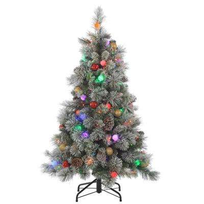 4.5 ft. Pre-Lit Flocked Hard Needle Pine Artificial Christmas Tree with Pine Cones and Ornaments