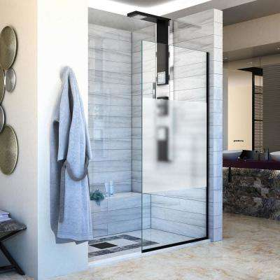 Linea 34 in. W x 72 in. H in Frameless Fixed Panel Shower Door in Satin Black