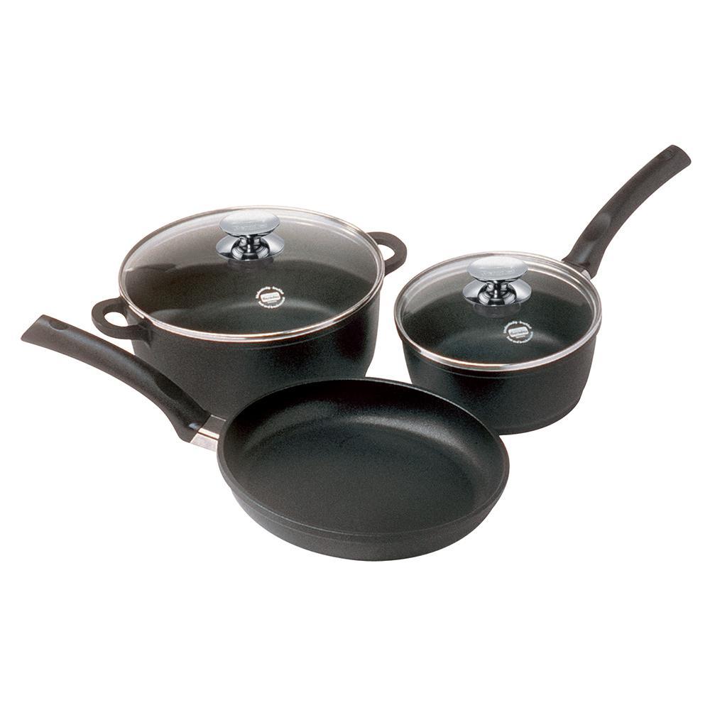 """SignoCast 5-Piece Non-Stcik Cast Aluminum """"Cookware Set"""" with Lids"""