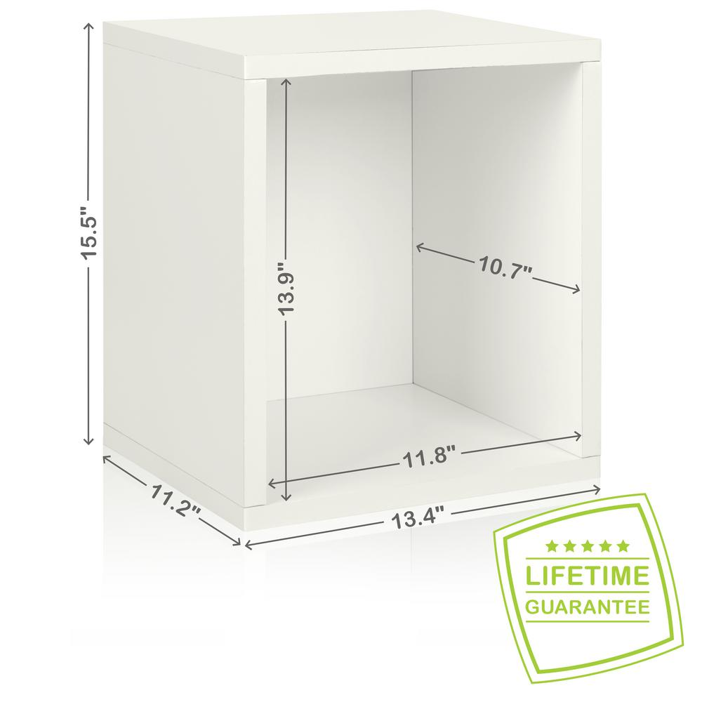 Way Basics Eco Stackable zBoard  11.2 x 13.4 x 12.8 Tool-Free Assembly Tall Storage Cube Unit Organizer in Pearl White