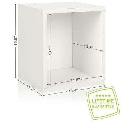 Eco Stackable zBoard  11.2 x 13.4 x 12.8 Tool-Free Assembly Tall Storage Cube Unit Organizer in Pearl White