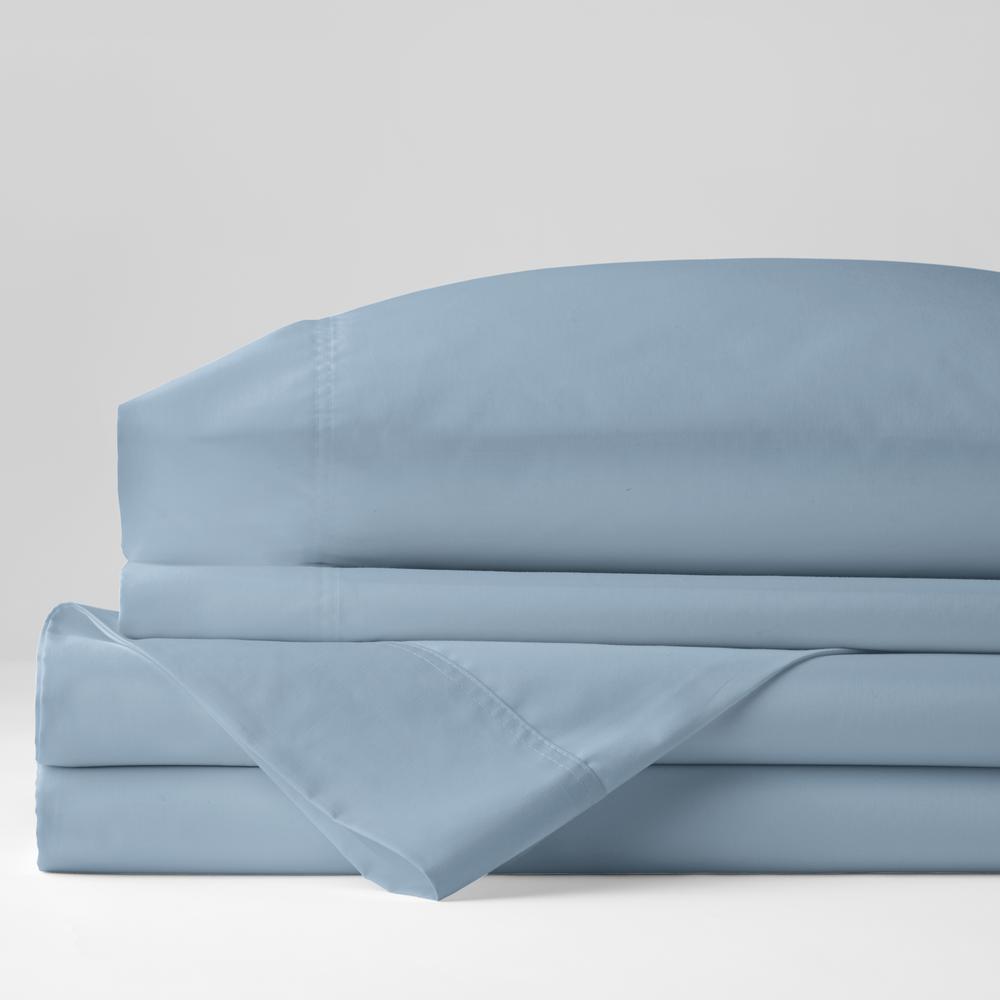 3-Piece Misty Blue Solid 300 Thread Count Bamboo Cotton Sateen Twin XL Sheet Set
