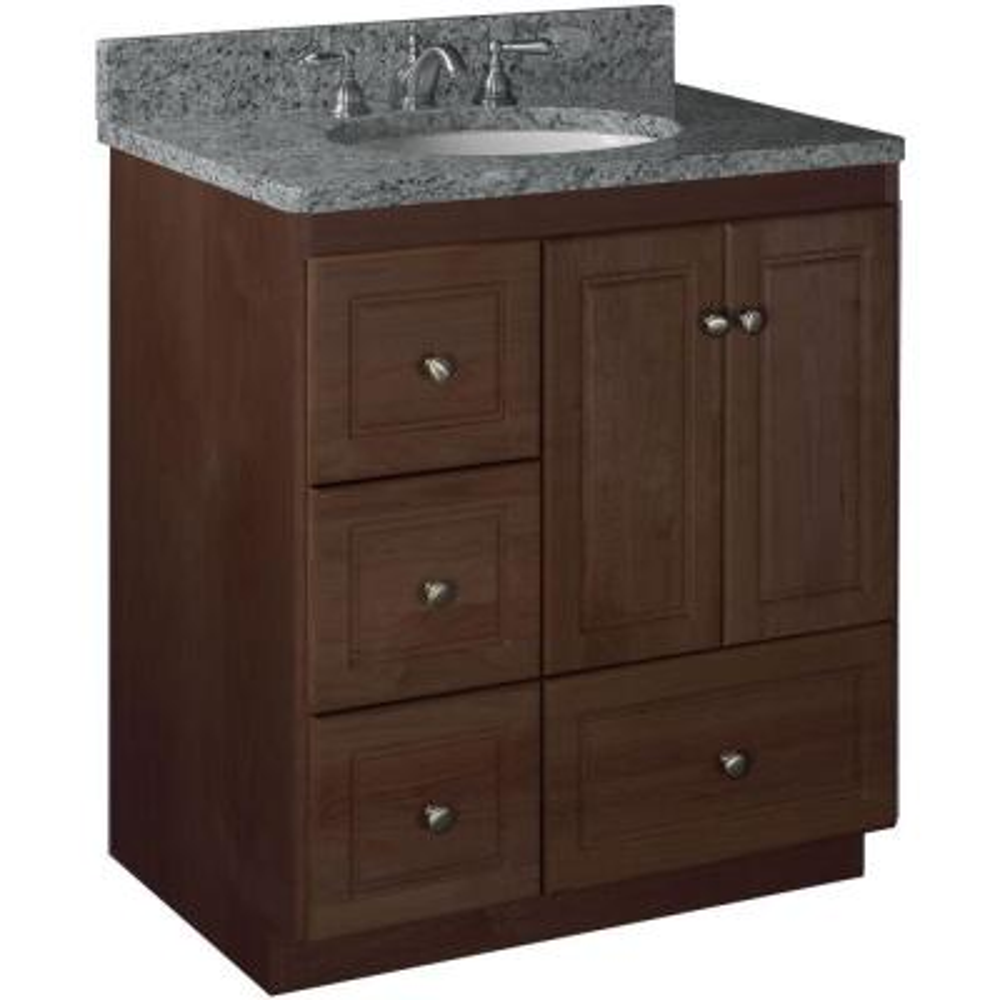 Ultraline 30 in. W x 21 in. D x 34.5 in. H Vanity with Left Drawers Cabinet Only in Dark Alder