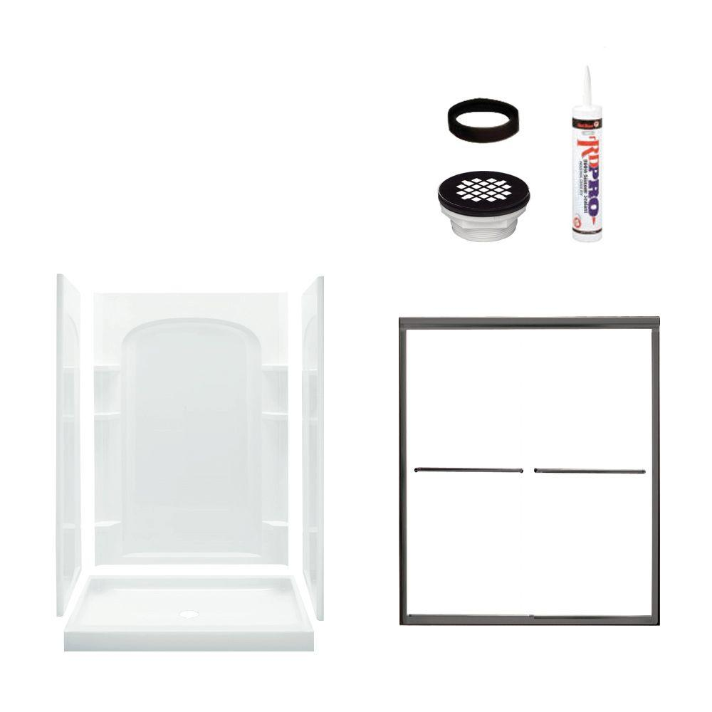 STERLING Ensemble Curve 34 in. x 48 in. x 75-3/4 in. Shower Kit with Shower Door in White/Oil Rubbed Bronze-DISCONTINUED