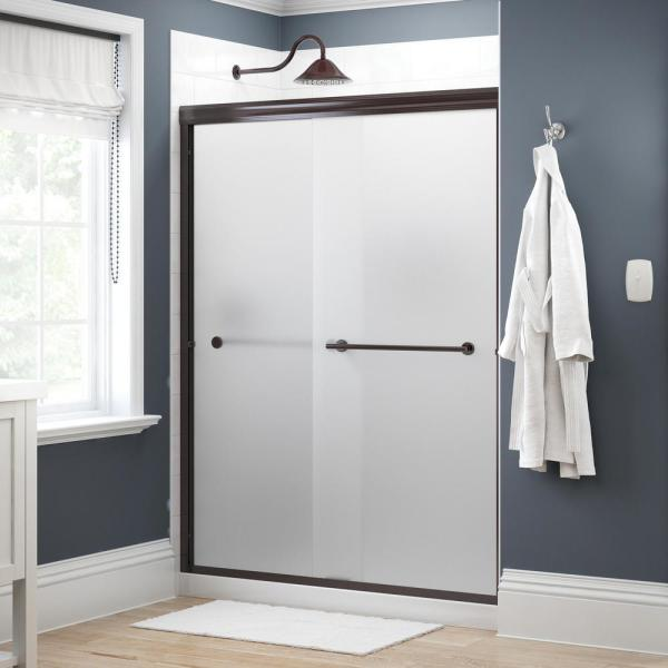 Lyndall 60 in. x 70 in. Semi-Frameless Traditional Sliding Shower Door in Bronze with Niebla Glass