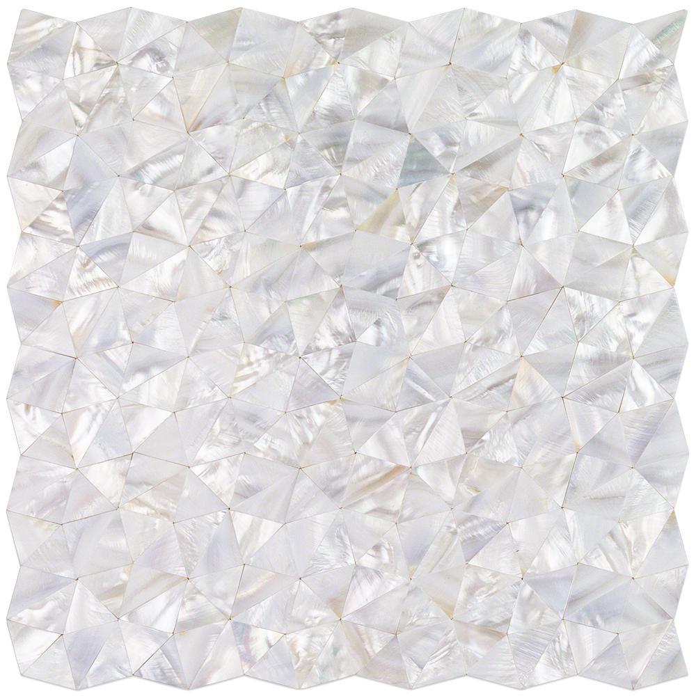 Lokahi White Troika 12.08 in. x 12.08 in. x 2 mm Pearl Shell Mosaic Tile