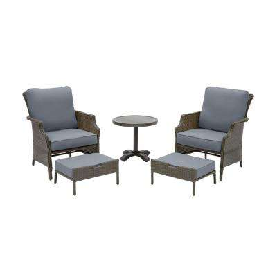 Grayson Ash Gray 5-Piece Wicker Outdoor Patio Small Space Seating Set with CushionGuard Steel Blue Cushions