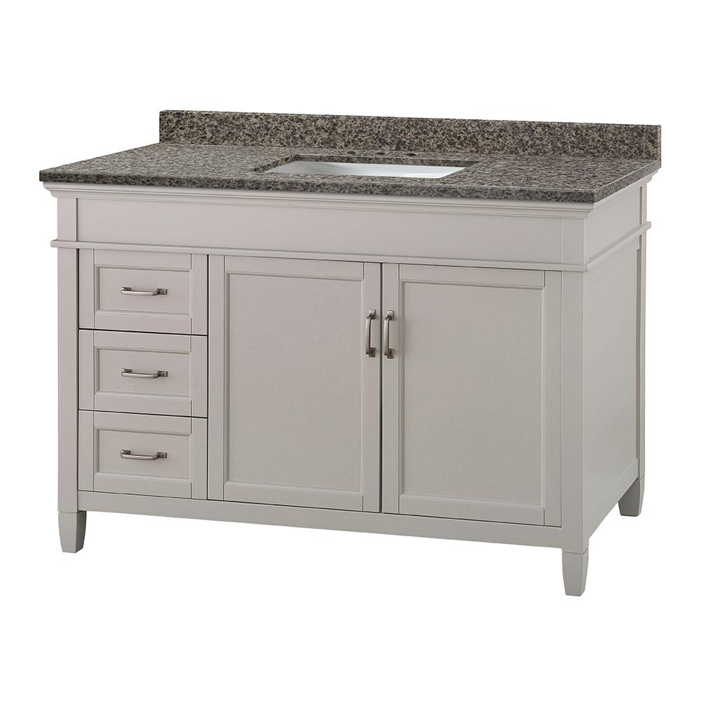 Home Decorators Collection Ashburn 49 in. W x 22 in. D Vanity in Grey with Granite Vanity Top in Sircolo with White Sink