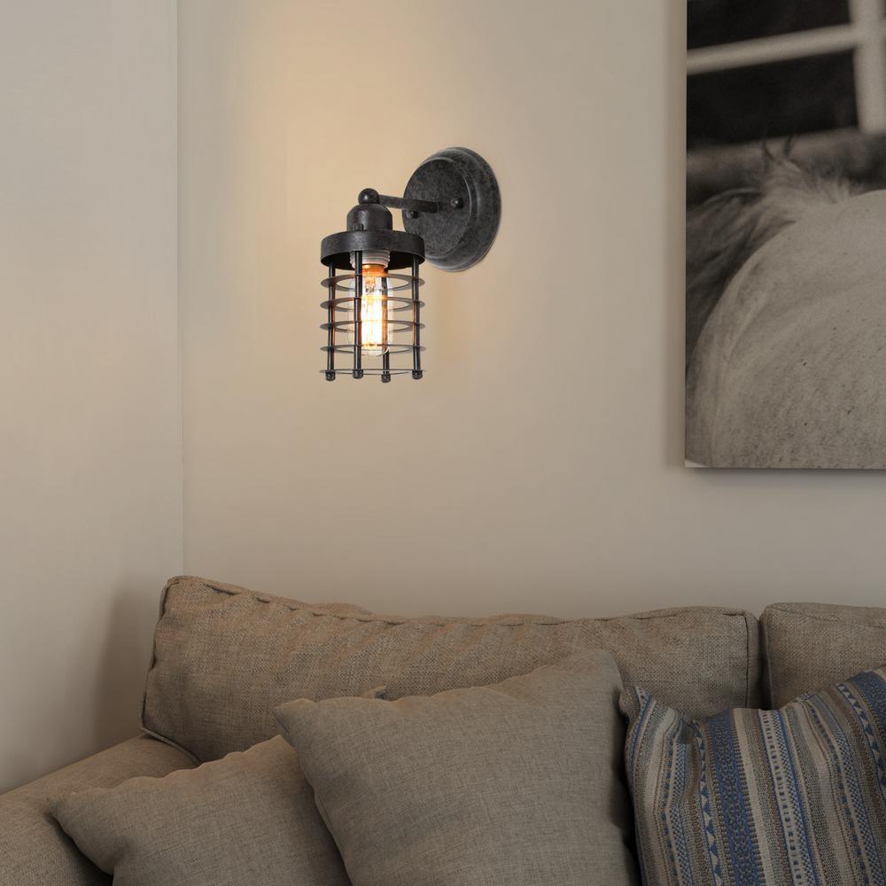 1-Light Rustic Wall Sconce Graphite Black Modern Industrial Farmhouse Barn Mini Cage Wall Lamp