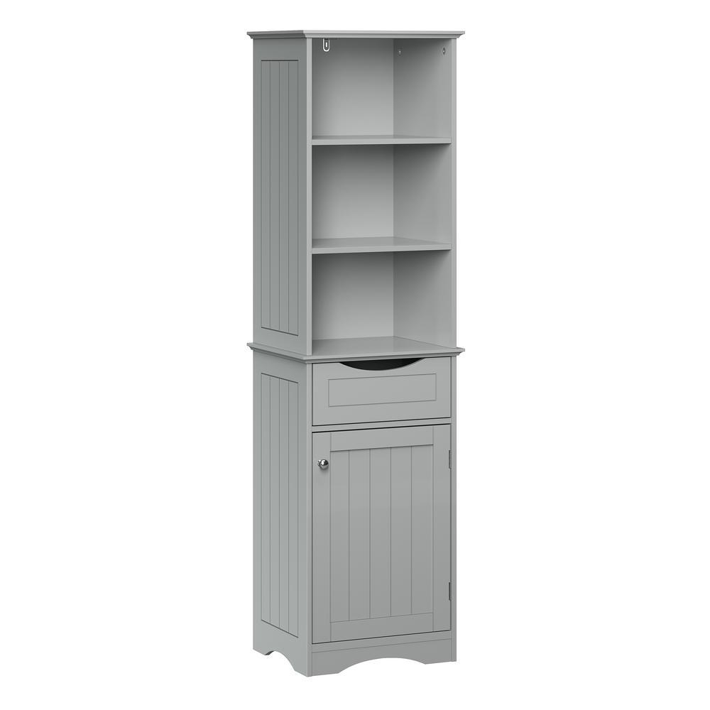 Ashland 16-1/2 in. W x 60 in. H Bathroom Linen Storage Tower Cabinet in Gray