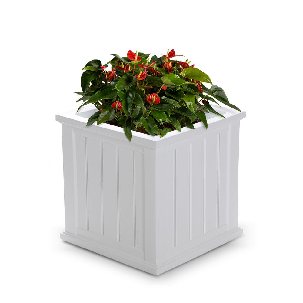 Mayne Cape Cod 20 In Square White Plastic Planter 4838 W The Home