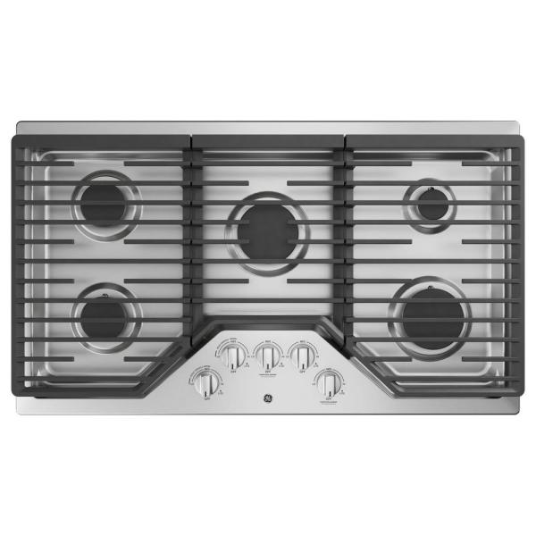 GE 36 in. Built-In Gas Cooktop in Stainless Steel with 5 Burners Including Power Boil Burner