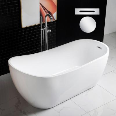 Grenoble 67 in. Acrylic Freestanding Slipper Flat Bottom Soaking Bathtub with Drain and Overflow Included in White