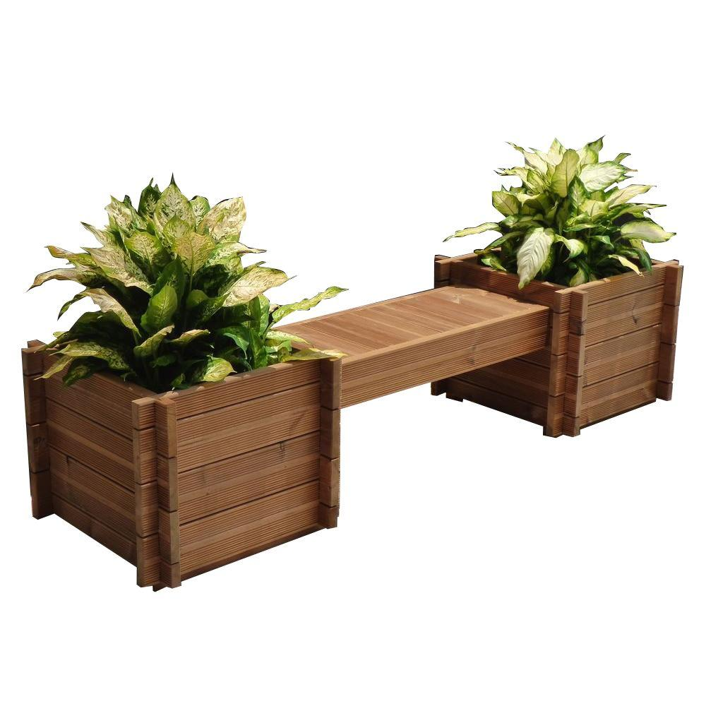 Thermod 82 In X 18 In Modula Wood Planter Bench Modula 35 The Home Depot