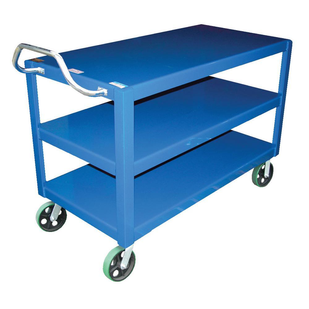 30 in. x 60 in. Heavy Duty 4,000 lb. Overall Load Capacity Ergo Handle Cart 3-Shelf