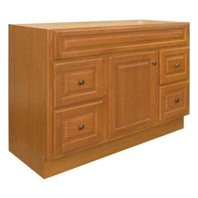 Hampton 48 in. W x 21 in. D x 33.5 in. H Bathroom Vanity Cabinet Only in Oak