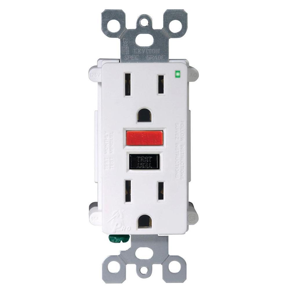 Leviton SmartLockPro 15 Amp Slim Tamper-Resistant Duplex GFCI Outlet, White (3-Pack)