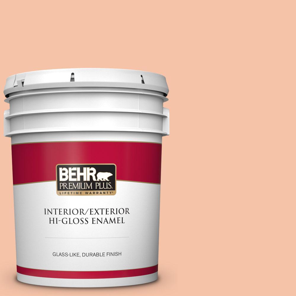Behr Premium Plus 5 Gal 240c 3 Peach Damask Hi Gloss Enamel Interior Exterior Paint 805005 The Home Depot