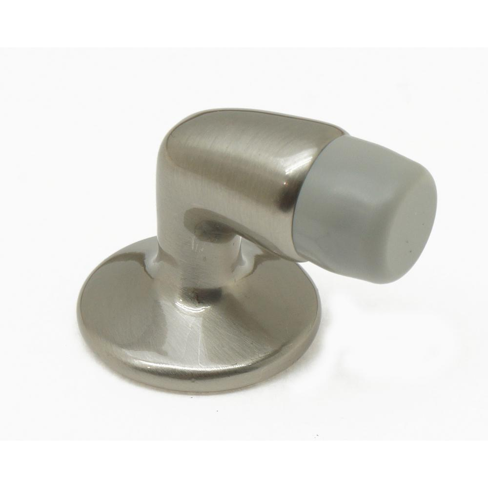 Attrayant Mini Solid Brass Floor Mounted Gooseneck Door Stop In Satin Nickel