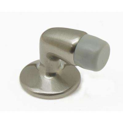 Mini Solid Brass Floor Mounted Gooseneck Door Stop in Satin Nickel