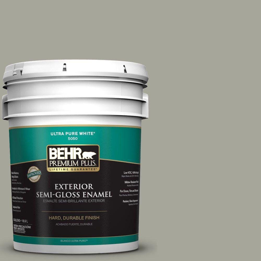 BEHR Premium Plus 5-gal. #N370-4 Confederate Semi-Gloss Enamel Exterior Paint