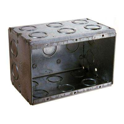 3-Gang Masonry Box, 3-1/2 in. Deep with 1/2 and 3/4 in Concentric KO's (10-Pack)