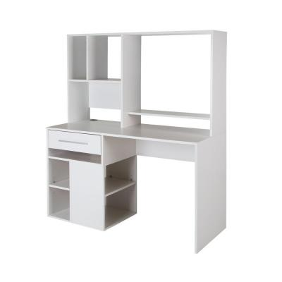 48 in. Rectangular Pure White 1 Drawer Computer Desk with Shelves