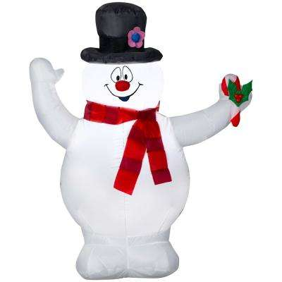 3.5 ft. Pre-lit Inflatable Frosty with Scarf and Holly Berry Candy Cane Airblown