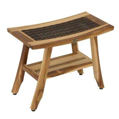 EarthyTeak Satori 24 in. Eastern Style Teak Shower Bench with Viro Indoor/Outdoor Rattan Top and Shelf